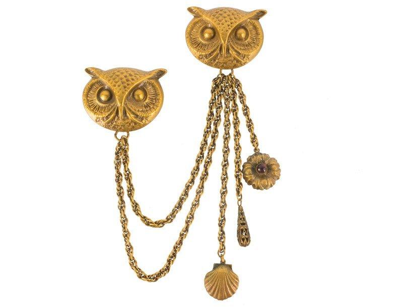 A Joseff Hollywood goldtone chatelaine with owls, set