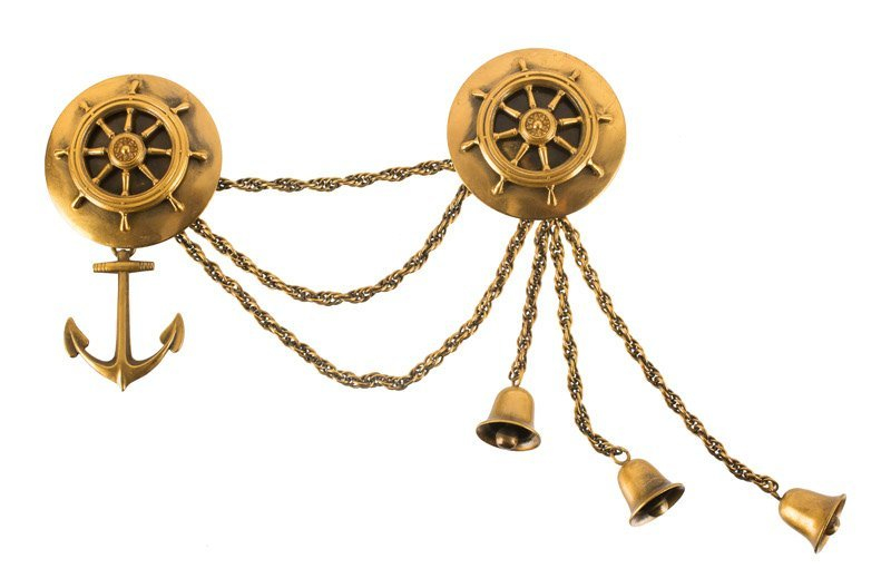 A Joseff Hollywood goldtone chatelaine, set with two