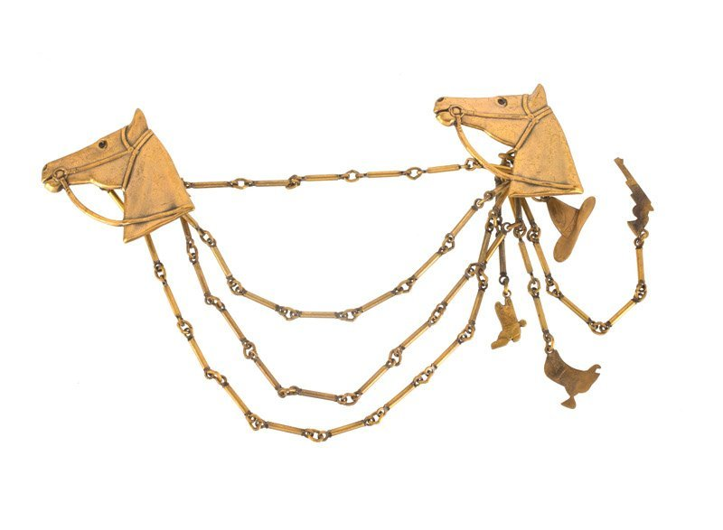 A Joseff Hollywood goldtone chatelaine with horse - 2