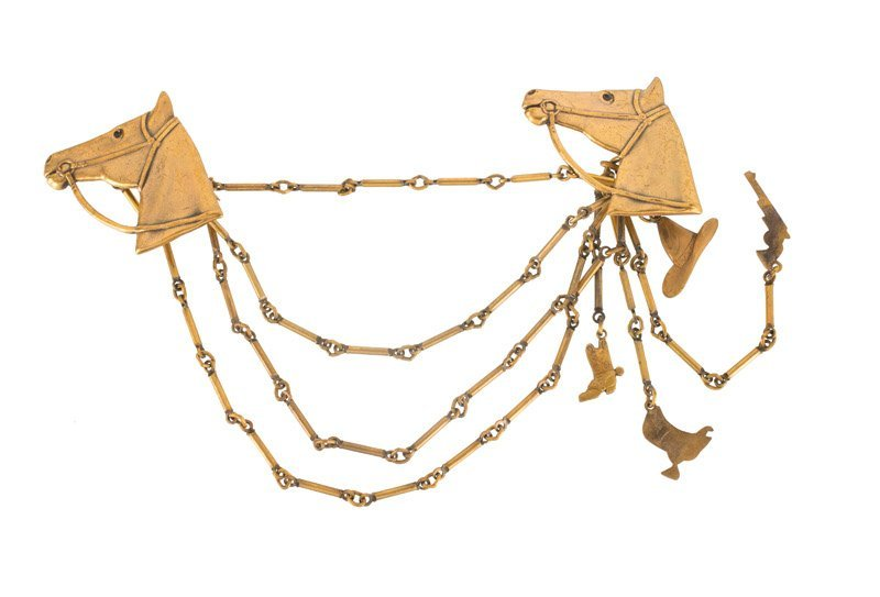 A Joseff Hollywood goldtone chatelaine with horse - 3