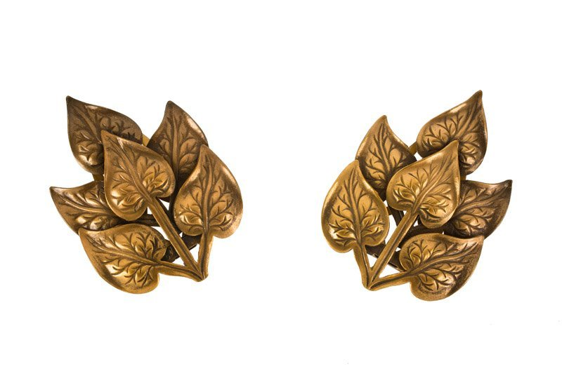 A Joseff Hollywood goldtone leaf shaped pair of clip