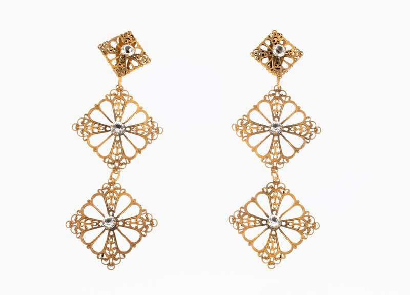 A pair of Joseff Hollywood goldtone earclips set with