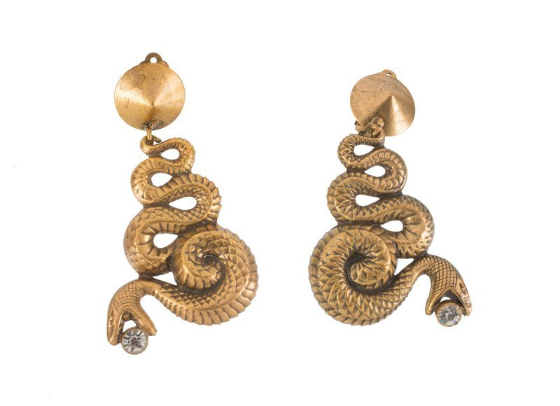 A Joseff Hollywood goldtone pair of earclips, depicting