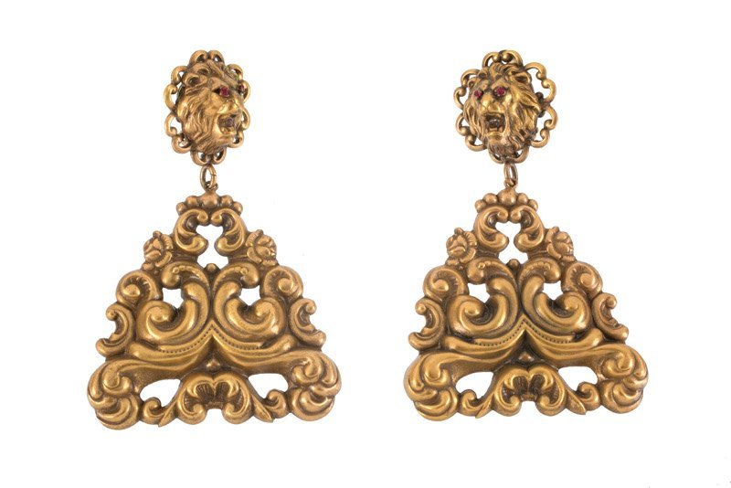 A Joseff Hollywood goldtone pair of earclips, lions'