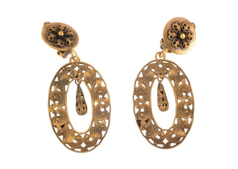 A Joseff Hollywood goldtone pair of earclips. Both