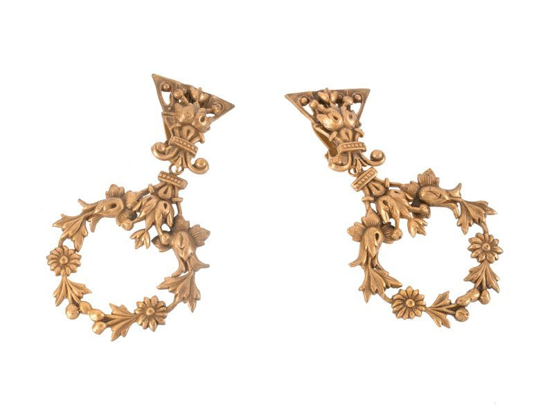 A Joseff Hollywood goldtone pair of earclips with