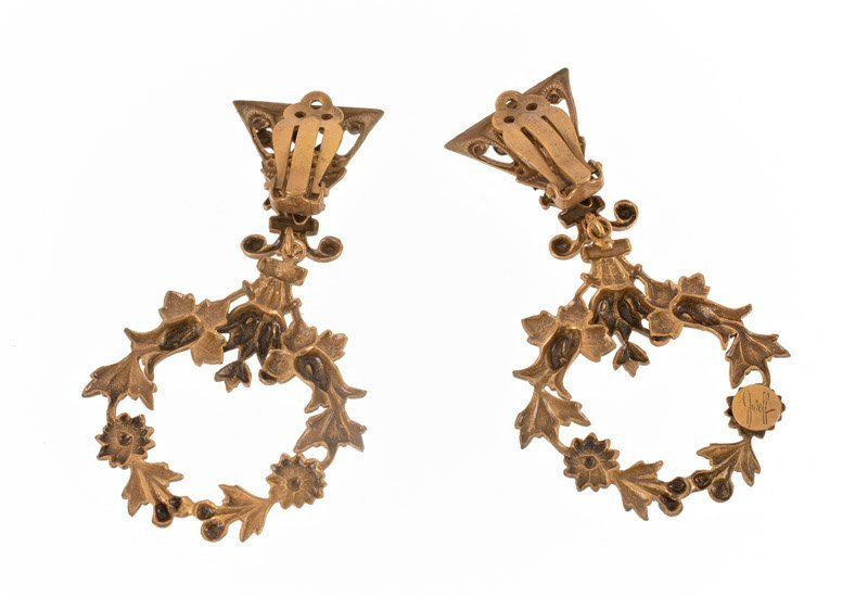 A Joseff Hollywood goldtone pair of earclips with - 2