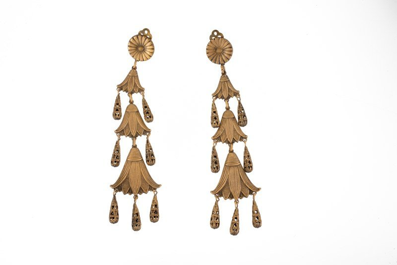 A Joseff Hollywood goldtone pair of earclips. One