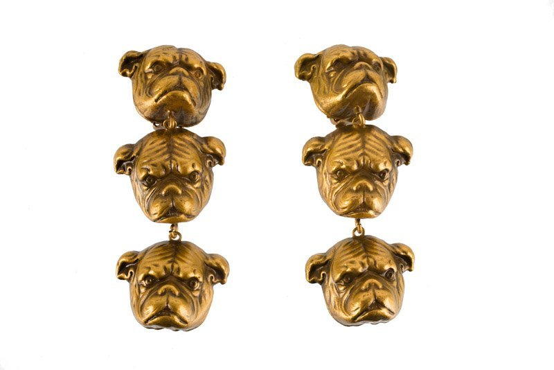 A Joseff Hollywood goldtone pair of earclips depicting