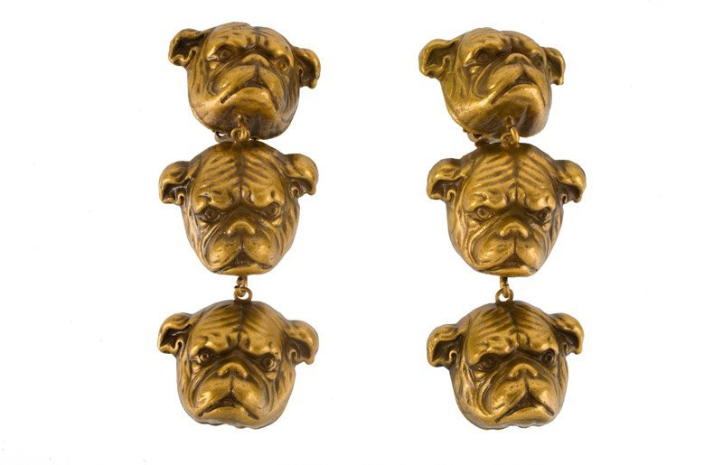A Joseff Hollywood goldtone pair of earclips depicting - 2