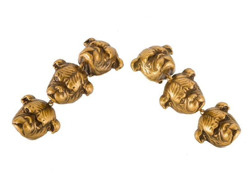 A Joseff Hollywood goldtone pair of earclips depicting - 3