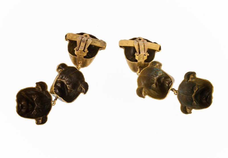A Joseff Hollywood goldtone pair of earclips depicting - 4
