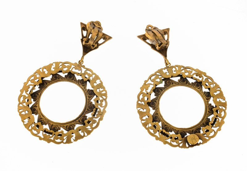 A Joseff Hollywood goldtone pair of earclips. One - 2
