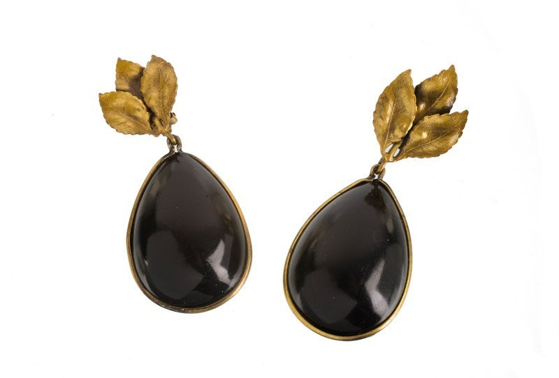 A Joseff Hollywood goldtone pair of earclips, set with