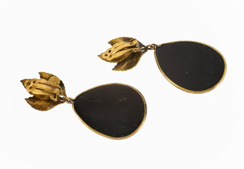 A Joseff Hollywood goldtone pair of earclips, set with - 2