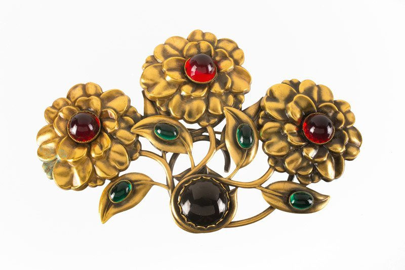 A Joseff Hollywood flower brooch, set with red, green