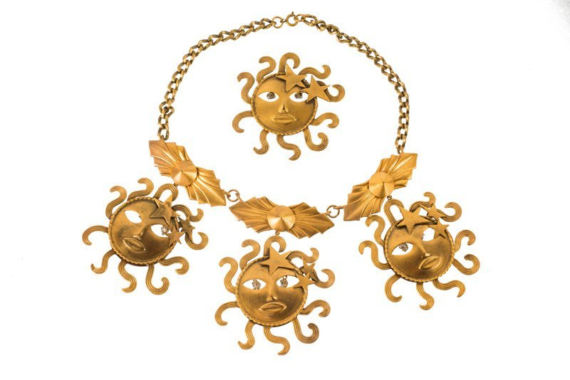 A Joseff Hollywood goldtone sun face necklace and - 2