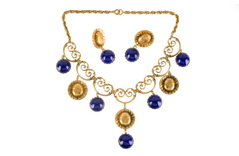 A Joseff Hollywood goldtone necklace and pair of