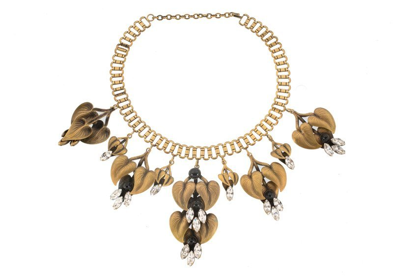 A Joseff Hollywood goldtone necklace with leaves, set