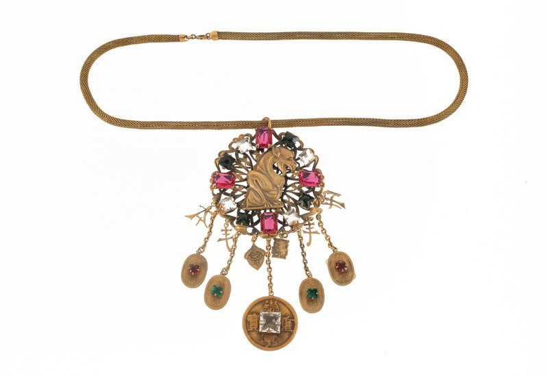 A Joseff Hollywood goldtone necklace with pendant,