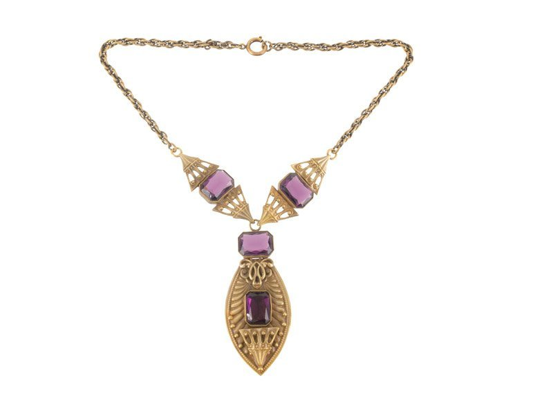 A Joseff Hollywood goldtone necklace with pendant, set