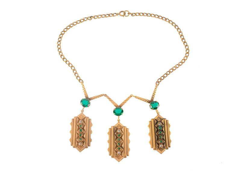 A Joseff Hollywood goldtone necklace with three