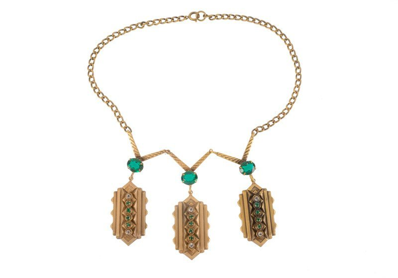A Joseff Hollywood goldtone necklace with three - 2