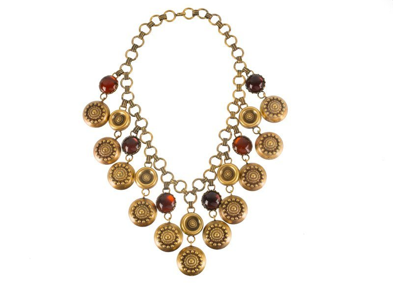 A Joseff Hollywood goldtone necklace set with purple