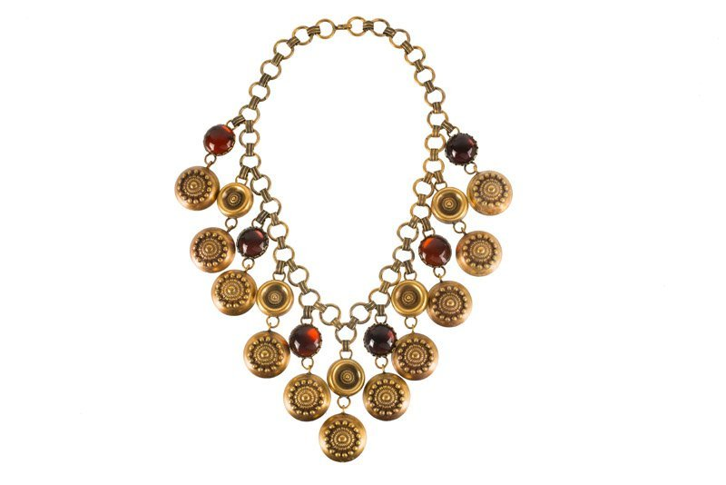 A Joseff Hollywood goldtone necklace set with purple - 2