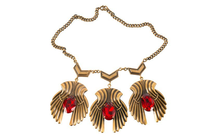 A Joseff Hollywood goldtone necklace set with red
