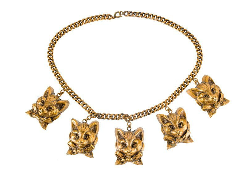Joseff Hollywood goldtone necklace with cats. All cats