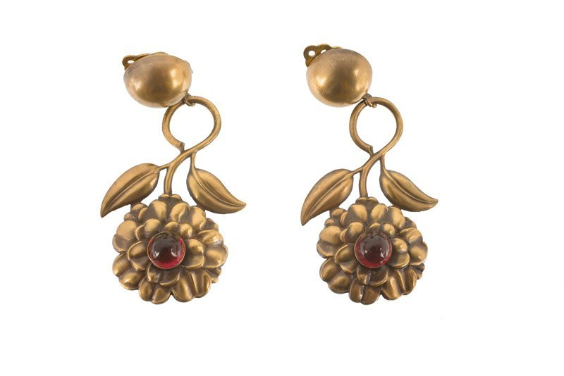 A Joseff Hollywood goldtone pair of floral earclips,