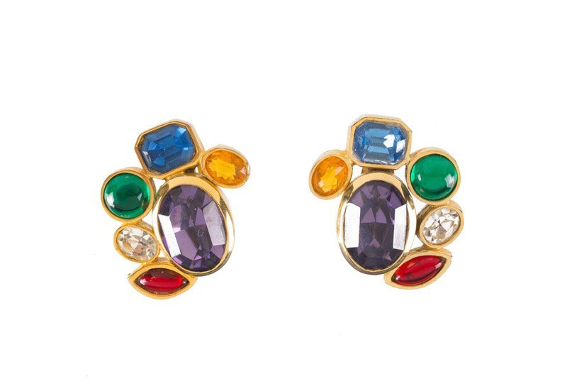 Kara Maresca pair of earclips, set with multicolor