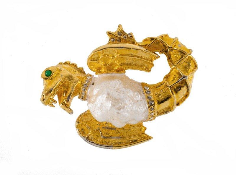 A Kenneth Jay Lane goldtone renaissance revival brooch,