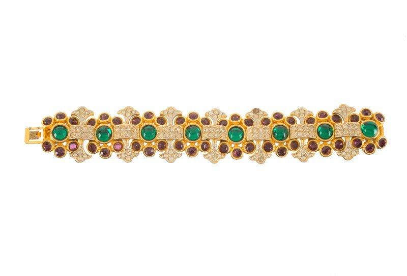A Kenneth Jay Lane goldtone bracelet, set with green