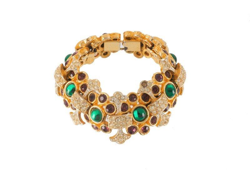 A Kenneth Jay Lane goldtone bracelet, set with green - 2