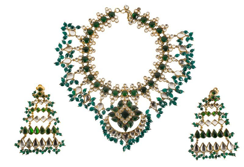 A Kenneth Jay Lane goldtone necklace, set with green