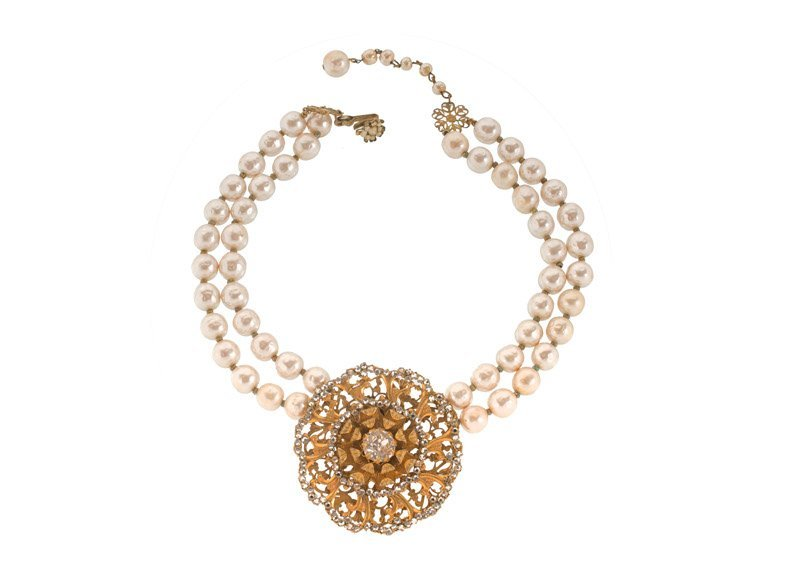 A Miriam Haskell faux pearl and goldtone necklace with