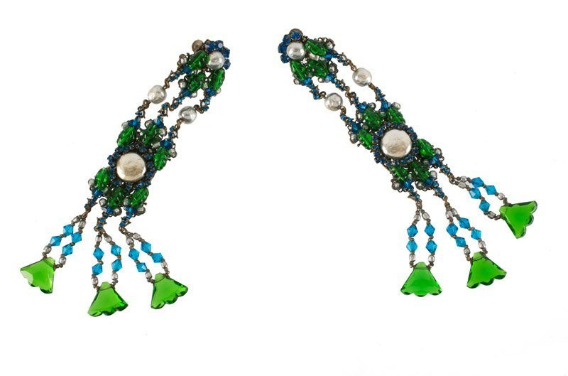 A Miriam Haskell pair of earclips, set with green and