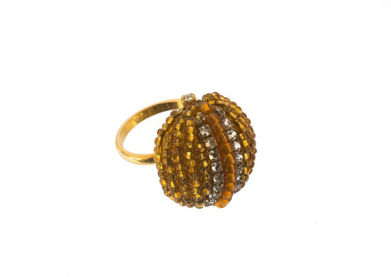 A Miriam Haskell goldtone ring, set with orange stones