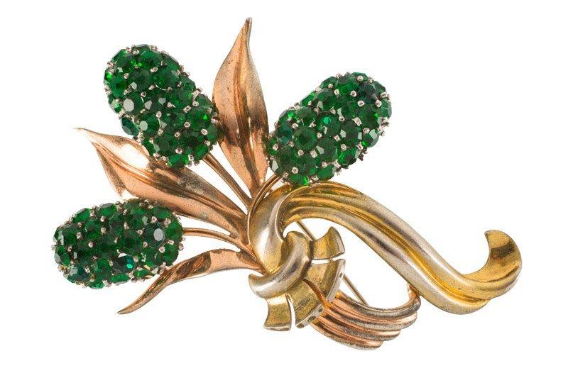 A Pennino Brothers sterling goldtone floral brooch, set