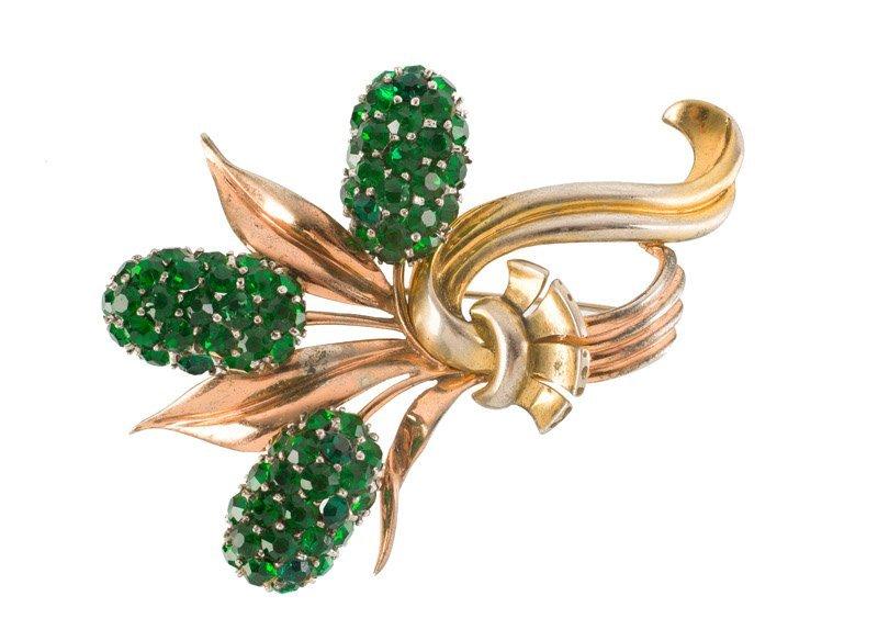 A Pennino Brothers sterling goldtone floral brooch, set - 3