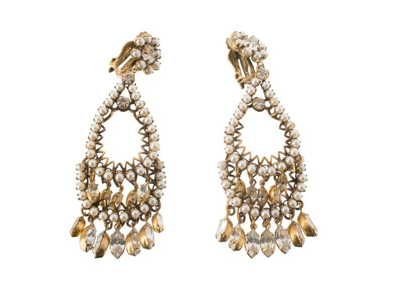 A Robert Levy goldtone pair of earclips, set with faux