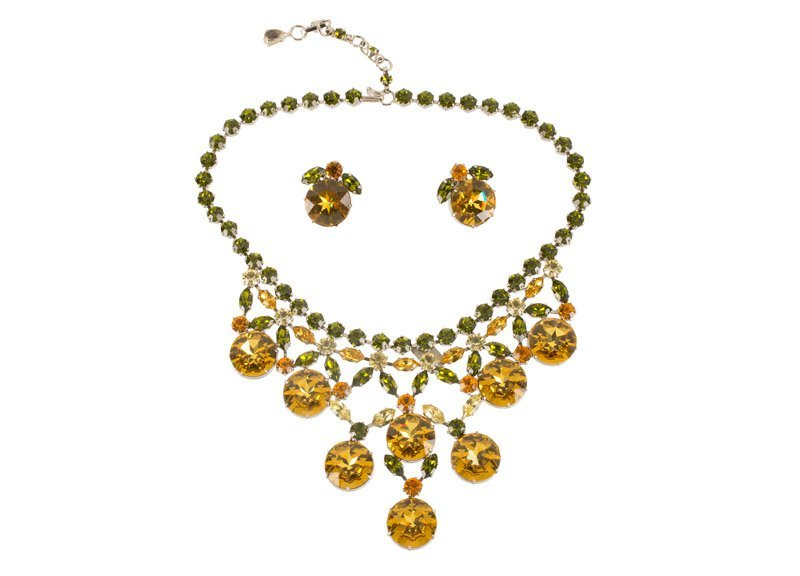 A Schreiner silvertone necklace and pair of earclips,