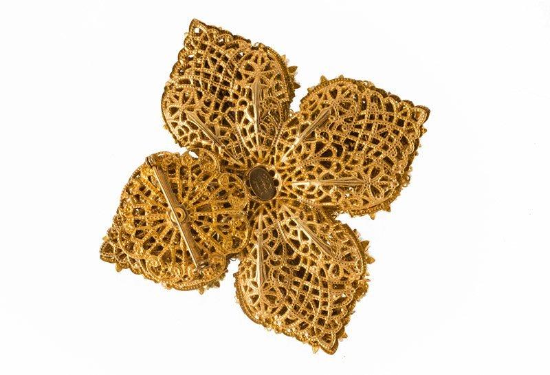 A Stanley Hagler goldtone brooch set with rhinestones - 2