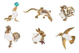 A Group of six Trifari 'Jelly Belly'goldtone brooches,