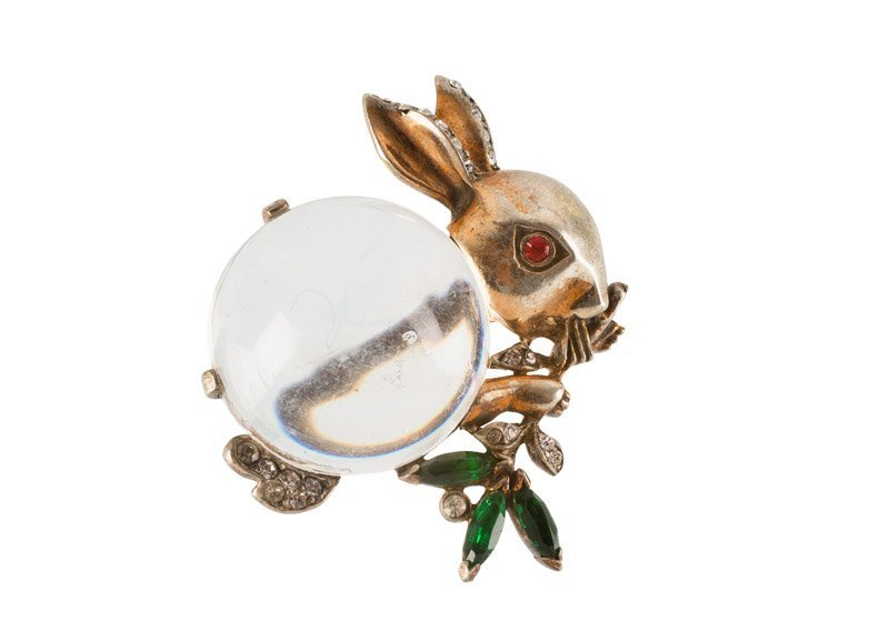 A Trifari 'Jelly Belly' brooch of a rabbit, set with