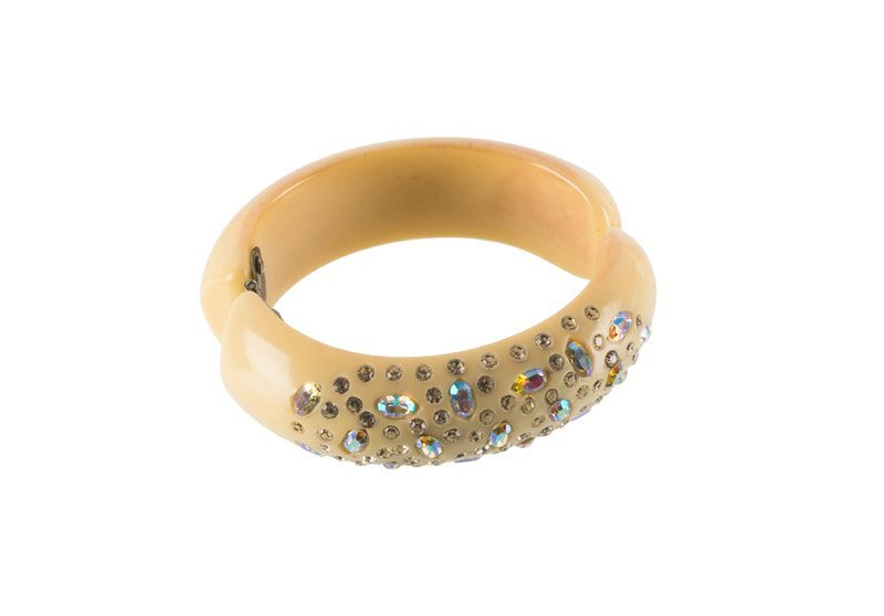 A Weiss faux ivory bracelet, set with rhinestones and