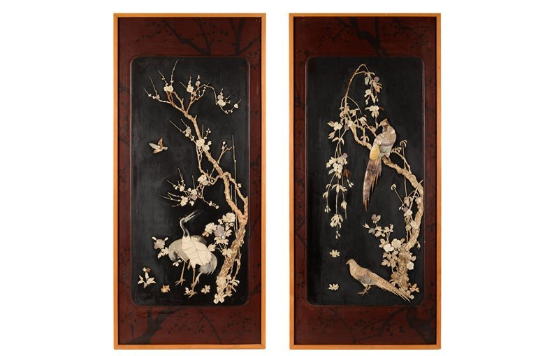 Two lacquer panels, decorated with birds, set with
