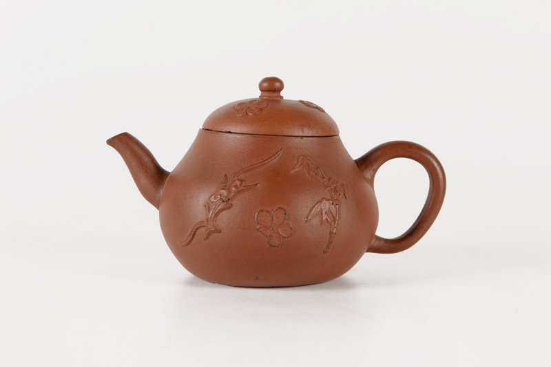 A yixing teapot decorated with the chilong dragon, - 2